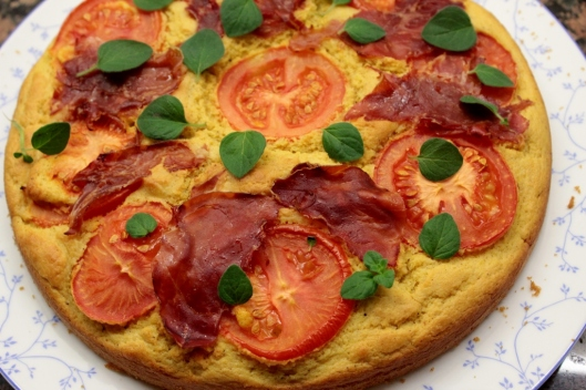 Polenta, Ricotta, Prosciutto & Tomato Cake