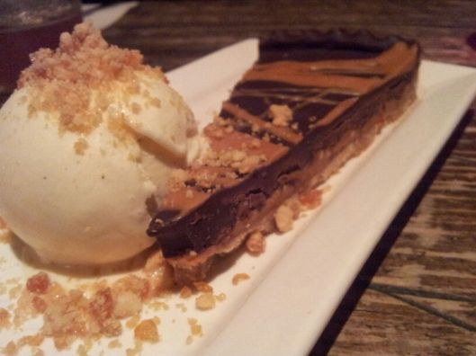 Duke's Brew and Que Peanut Butter & Chocolate Tart with Honeycomb and Praline Ice Cream