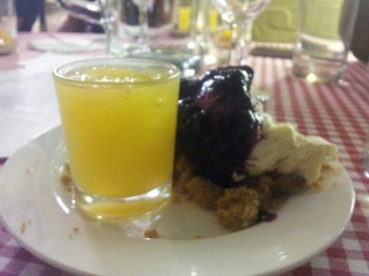 Orange & bourbon granita & cheesecake