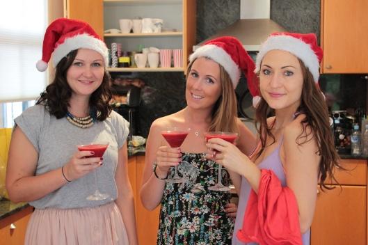 girls at christmas