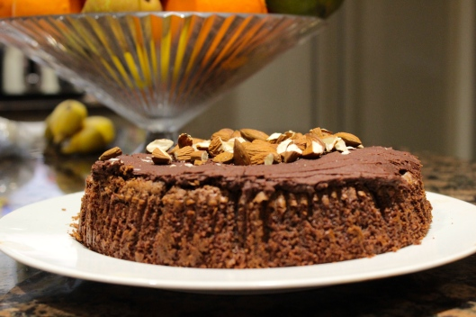 Chocolate amaretto and almond cake