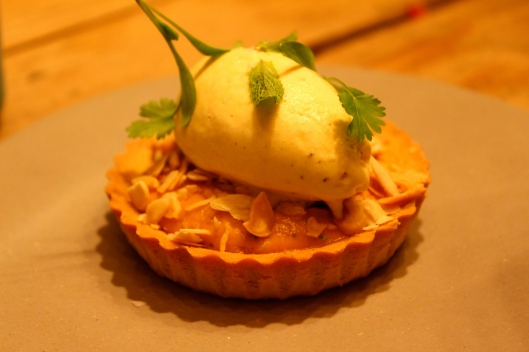 Sweet Potato Tartlet with Honey, Ginger, Mint, Almonds & Vanilla Ice Cream_