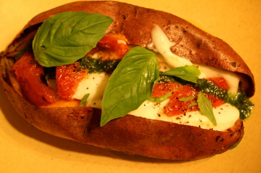 Sweet Potato with Mozzarella, Pesto & Sun-dried Tomato _