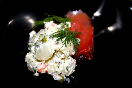 Smoked salmon, Russian salad, pickled beetroot and dill
