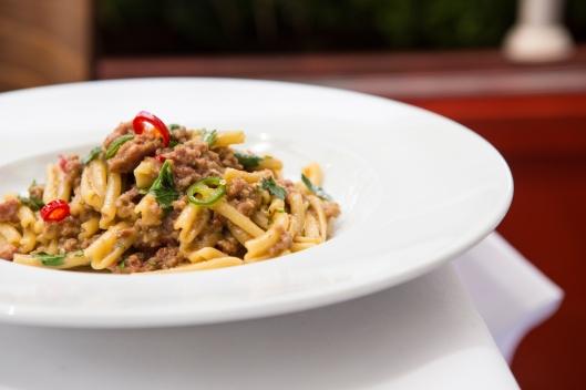 Casarecce Con Ragu Di Salsiccia Piccante twisted pasta with a spicy tuscan sausage ragu -ú10 (1)