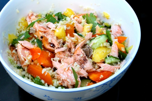 mango cous cous with salmon