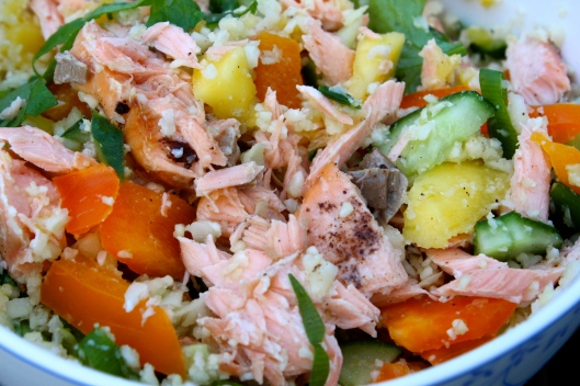 salmon & mango vegetable cous cous